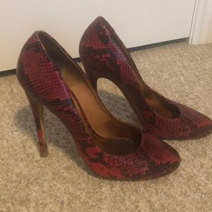 Kurt Geiger red leather faux snake heels size 40